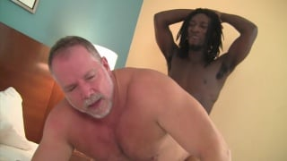 lean black stud fucks a beefy daddy's ass