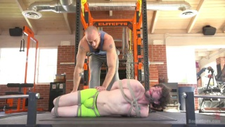 Bound gym whore gets the cum fucked out of him