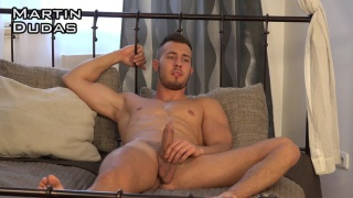 handsome straight czech guy strokes his cock