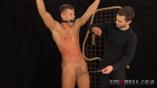 Martin Hovor is gagged and shackled for his spanking