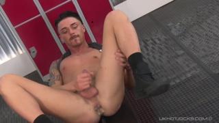 Kyle Fortune jacks off in the locker room