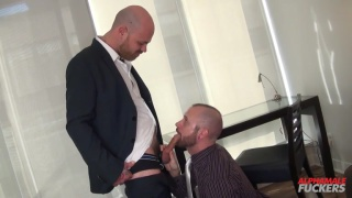 bald executives get dirty in their suits