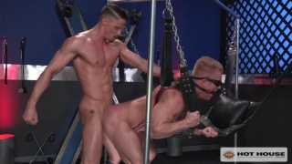 johnny v blindfolded and screwed in a sling
