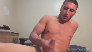 buffed out boy shows off his asshole