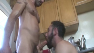 hairy plumber fucks homeowner in the kitchen