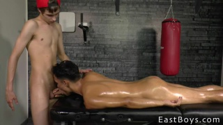 Corey Law and Miguel Alves fuck on massage table