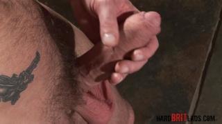 bald brit strokes his fat uncut cock