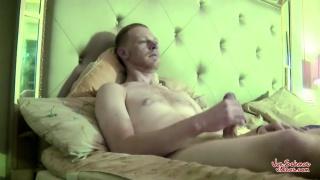 bisexual guy strokes his big hard cock