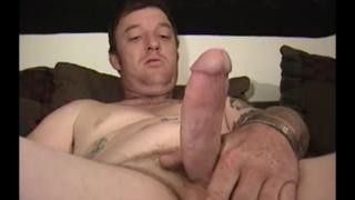 redneck in jockstrap strokes his big cock