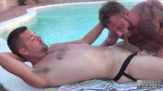 Derek Parker bare fucks Josh Stone poolside