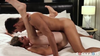 ashton aims his huge cock at Benjamin's ass