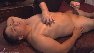 Native American Dakotah gets serviced on massage table