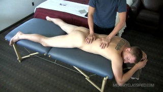 ex-marine gets serviced on massage table
