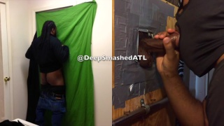 hooded straight dude gets blown at glory hole