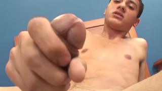 Cute Latin twink Tomas jerks his cock