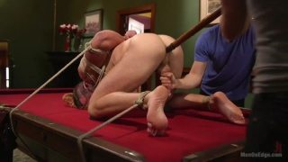 Furry alex mecum is Bound and Edged on a Pool Table