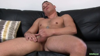 sexy blond guy Aston Springs jerks his cock