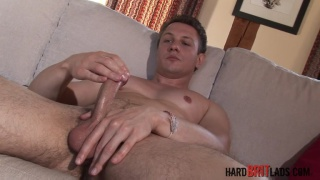 str8 rugby player jerks his uncut dick