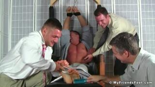 three men tickle restrained braden charron