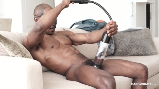 black guy uses a cock pump