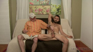 sexy bearded straight guy gets serviced by old man