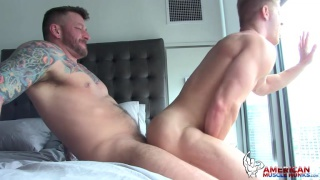 Johnny V rides Hugh Hunter's cock