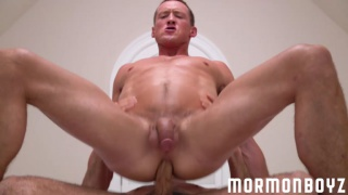 hung mormon sits on grey-haired man's cock
