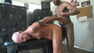 black guy fucks old man's ass in locker room