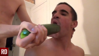 master force feeds his boy a cucumber first