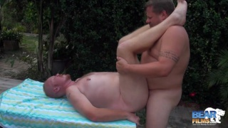goateed guy services a daddy with big nuts