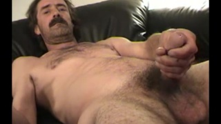 redneck with a moustache jerks off