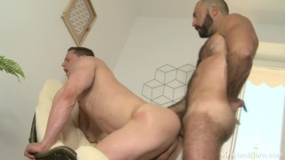 furry daddy flip fucks bareback with muscle stud