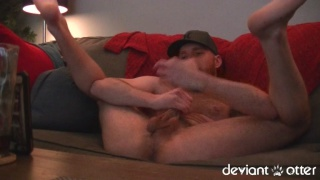 deviant otter strokes off on his webcam