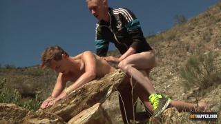 naked slave bent over a rock and fucked hard