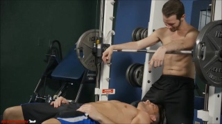 Casey distracts asher during their workout in the gym