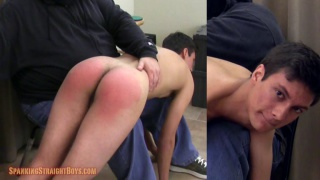 hung straight lad goes over daddy's knee for spanking