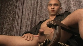 Hot skinhead latin guy stroking