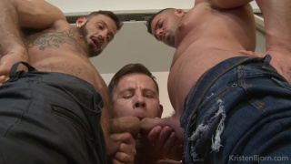 two men in jeans get sucked by one guy
