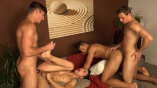 two guys get their holes fingered by two others