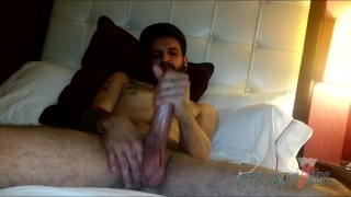bearded guy with pierced nose jacks his dick