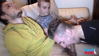 straight guy with two gay lovers on the couch