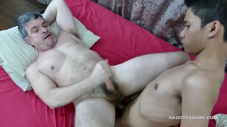 asian boy fucks his grey-haired daddy