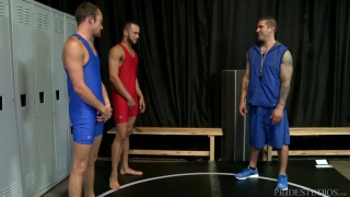 coach fucks two of his favourite wrestlers