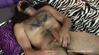 hairy hippie gets dildo ducked and jacks off