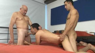 two men hire a male escort and fuck him