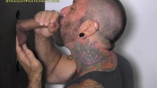 uncut straight guy getting blown at gloryhole
