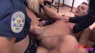 3 female prison guard use a guy