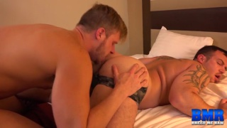 Chip Young sits his beefy ass down on Brian Bonds' cock
