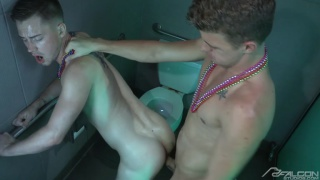 Kyler Ash jerks off while bouncing on JJ Knight's cock