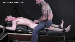 Straight boy Roger Michaels tickled and stroked